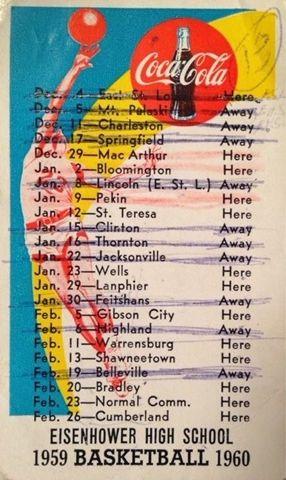 Eisenhower High School basketball schedule 1959-60 Decatur Illinois