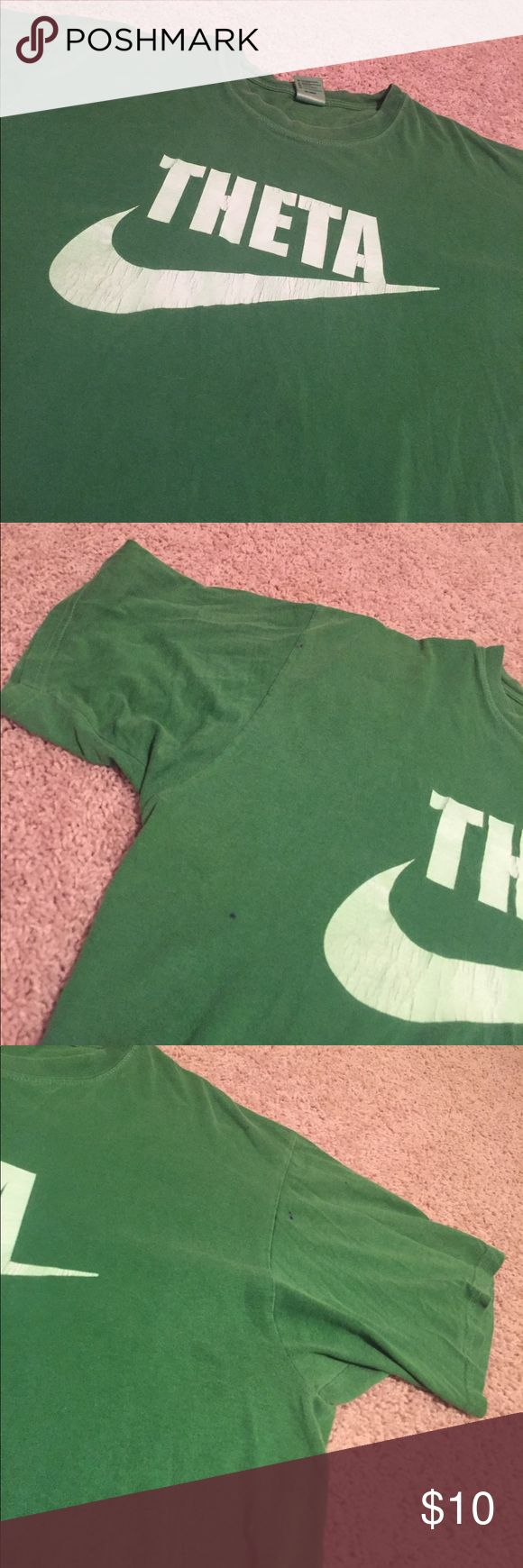 Theta 'Just Do It' Green Short Sleeve Tshirt! Theta 'Just Do It' Green Short Sleeve Tshirt! Size: Large!! Worn several times and visible signs of wear! There are a couple small ink pen stains on it, these are shown in pictures! It is very comfortable and super soft! authentic pigment Tops Tees - Short Sleeve