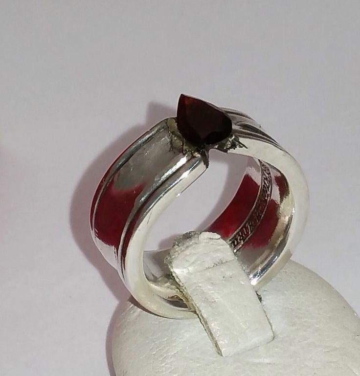 Ringe - 15,5 mm Ring mit dunkelrotem Stein SR438 - ein Designerstück von Atelier-Regina bei DaWanda