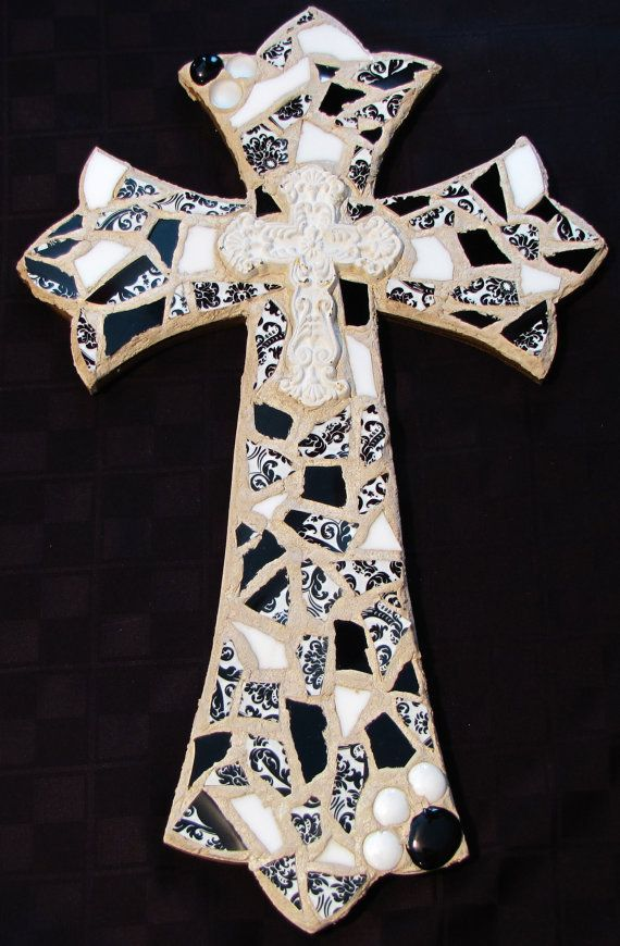 Glass mosaic cross by TorresTinkers on Etsy, $45.00