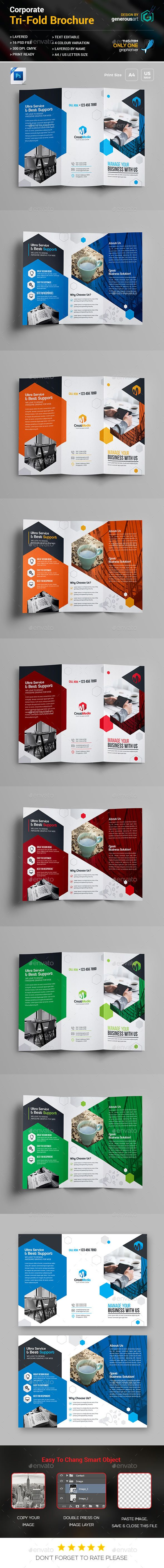 Business TriFold Brochure Template PSD
