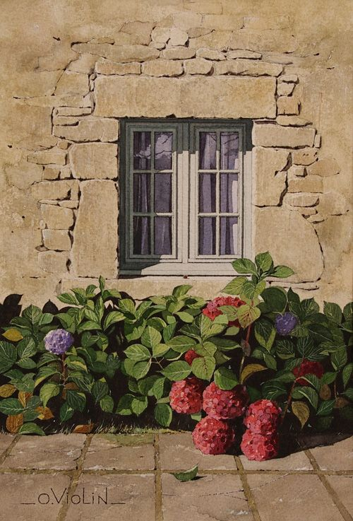 "Olivier Violin - "" Hortensias"" ""Hydrangeas"" French Watercolor Artist (Format: 30X40cm. Prix: 300€) -CLP"