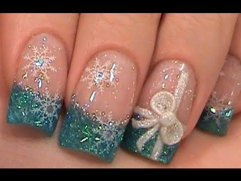 Blue Christmas tips with snowflakes and a bow~~