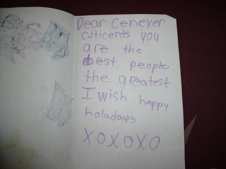 Our youth volunteer (1st grader) created this Xmas card for a senior all by herself! Priceless...