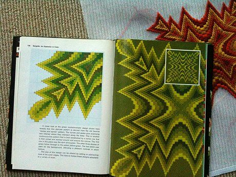 Not vintage -- Troy is making his own bargello pillows by reading how from vintage books. #rocks