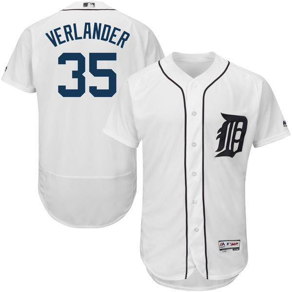 Justin Verlander Detroit Tigers men's Majestic Home White Flex Base Collection Player Jersey
