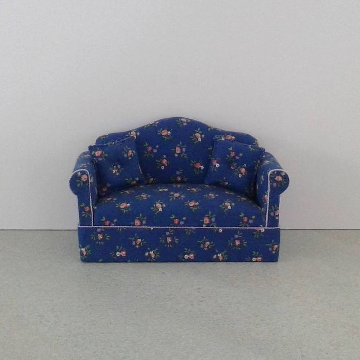 Miniature Sofa - MID BLUE FLORAL - Free Shipping #Unbranded