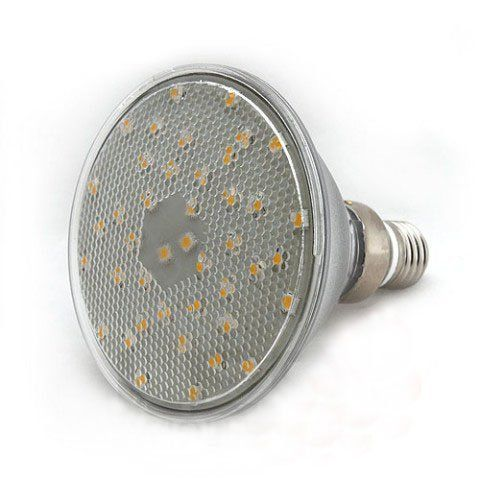Ledwholesalers Wide Angle PAR38 42 SMD LED Flood Light Bulb, Warm White, 1313WW by LED Wholesalers. $20.00. Bulb Type:Standard Screw Base Color:White (3500K). View Angle :140 Deg Color:White (3500K). Operating Voltage: 90 - 260 Volt AC. Consumption:9.5 Watt. Light output:630 Lumen (as bright as a 50 Watt Bulb). This led spot light bulb can be used with any voltage from 110vac to 240vac. It uses 30 of the high powered Surface Mount (SMT) LED to project an extremely bright even ...