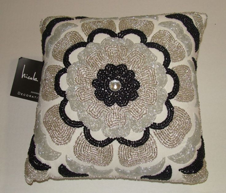 nicole miller home black white glass beaded designer throw