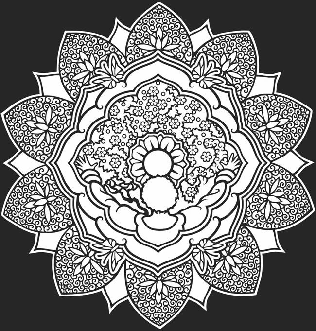 Color It Yourself ☮ Mandalas Psychedelic Hippie Indian