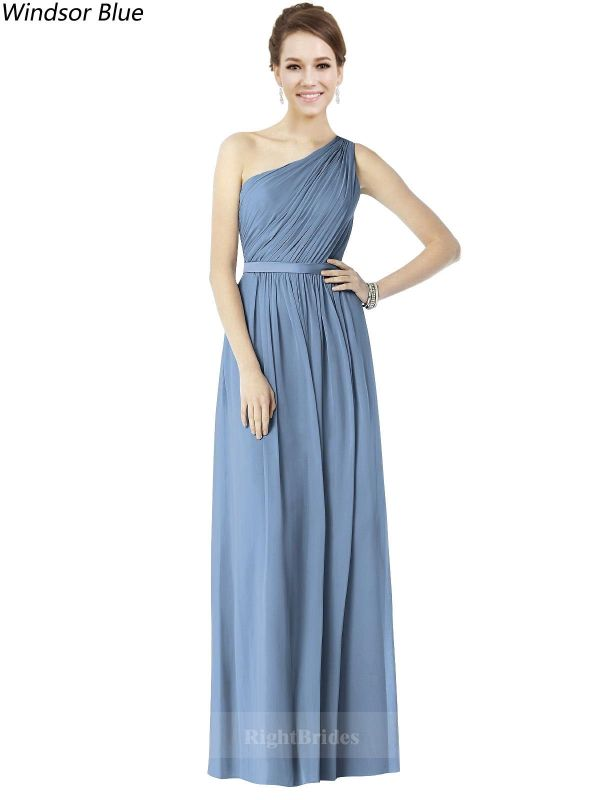 Right Gowns Most Chic 2018 Style One Shoulder Chiffon Long Windsor Blue Sleeveless Bridesmaid Dresses