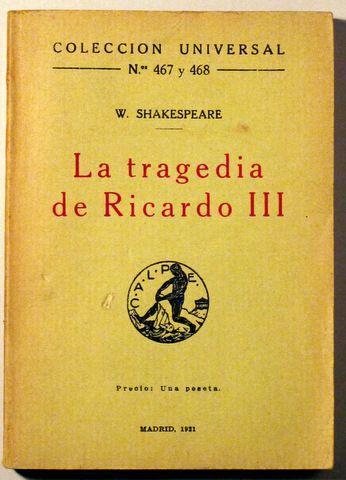 LA TRAGEDIA DE RICARDO III - Calpe 1921 - Llibres del Mirall