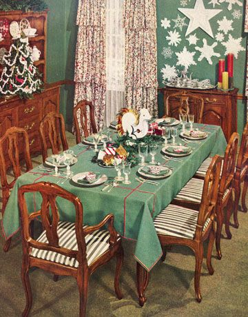 christmas nostalgia vintage christmas antique ornaments a festive dinner party house beautiful december 1940 issue - 1940s Christmas Decorations