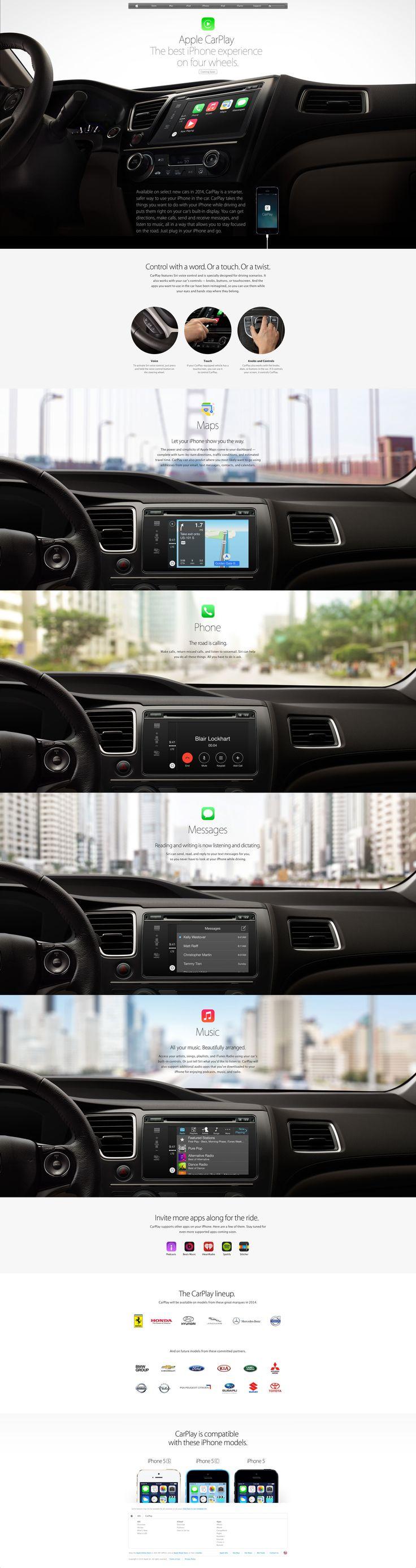 Apple's CarPlay iOS integration page.