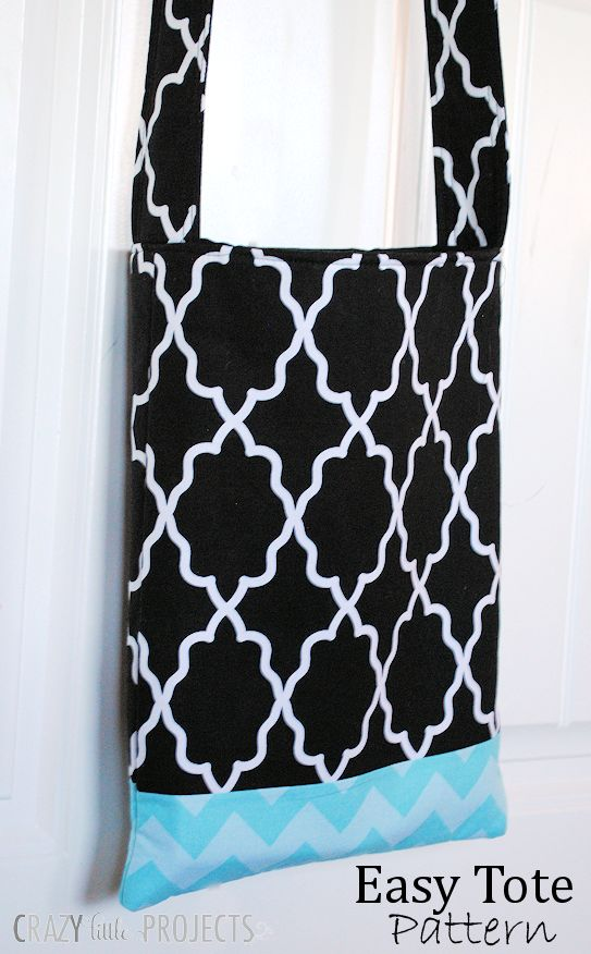 Easy tote bag pattern and instructions. Use this easy tote bag tutorial for an easy beginning sewing project.