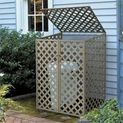 Outdoor Garbage Bin Screen Metal Trash Can Enclosure Home Organizing Cleaning Concealer