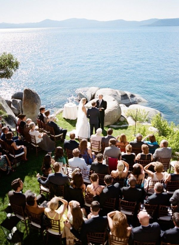 Lakefront wedding ceremony ideas from this real Lake Tahoe wedding at Thunderbird Lodge from Josh Gruetzmacher