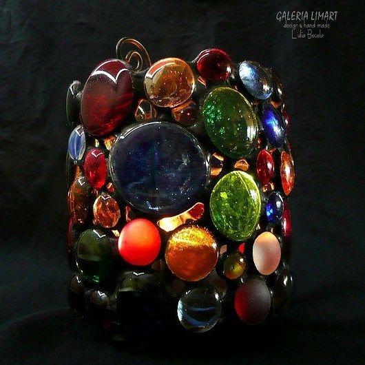 GIFT unusual for those who love uniqueness. Lantern with colorful glass cabochons //  PREZENT niezwykły dla kochających unikaty. Lampion z kolorowych szklanych kaboszonów