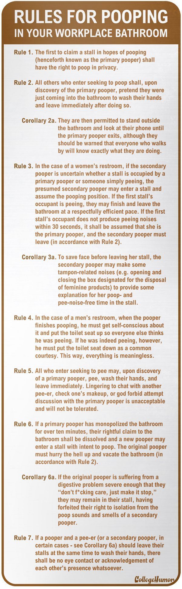 Official Rules For Pooping In Your Workplace Bathroom