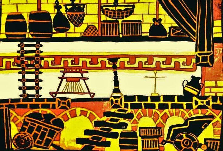 Greek Chamber; Size: A4; Technic: watercolour; Game: Apotheon (Alientrap, 2015)