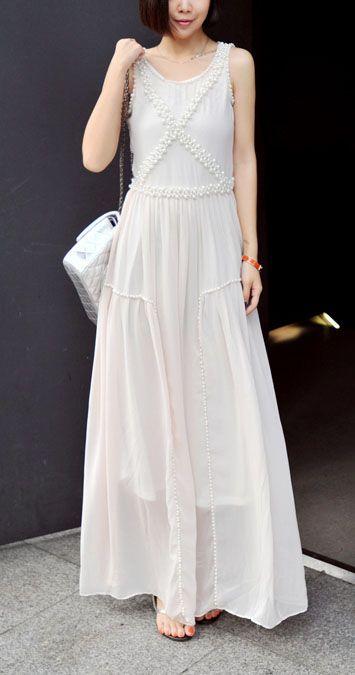 Beige Chiffon Sleeveless Cross Pearl Embellished Long Dress