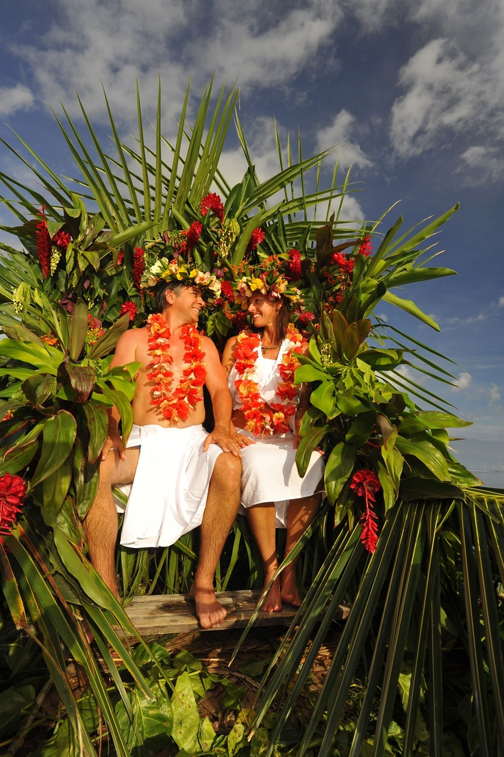 Traditional Tahitian wedding ceremony. Weddings on Tahiti are magical, romantic affairs with Polynesian chants, colourful clothes and plenty of fresh flowers.  It is legal to get married in Tahiti for North Americans :)