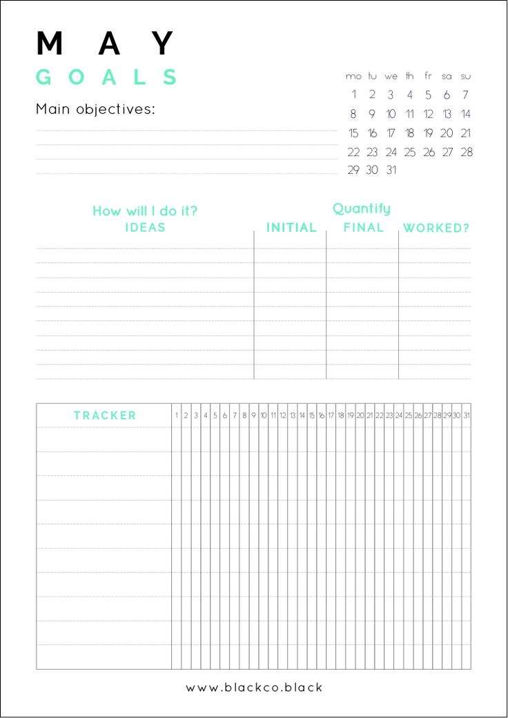 The May Goals Planner helps you to achieve anything next month, easily set up goals and track the progress. Get your Free Printable Monthly Planner!