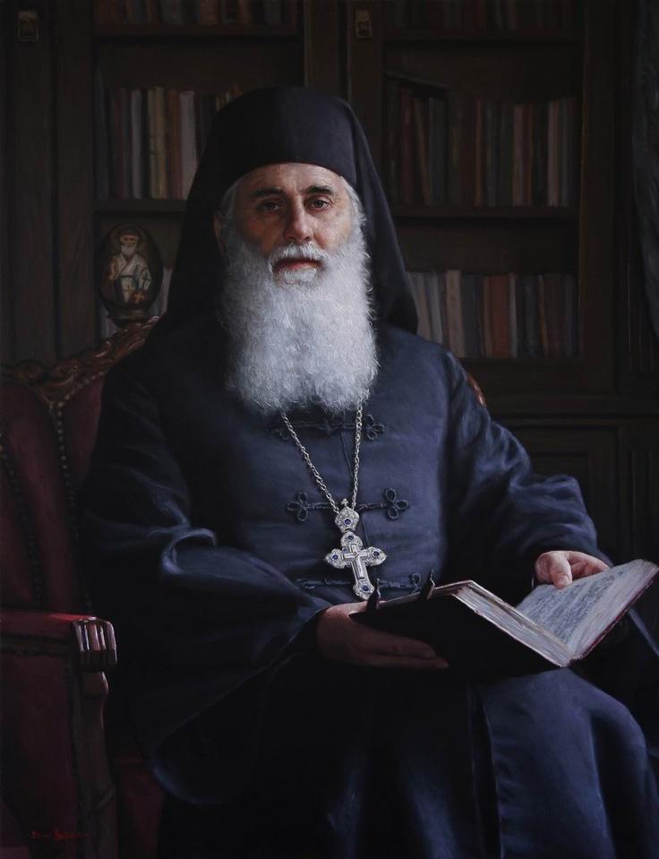 """Portrait of Father Dositej"", oil on linen."