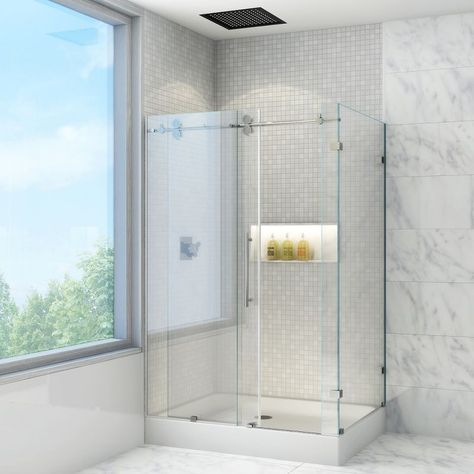 """Vigo VG605148WL 36"""" x 48"""" Frameless Shower Enclosure with 3/8"""" Glass and Left Dr Clear / Stainless Steel Showers Shower Enclosures Sliding"""
