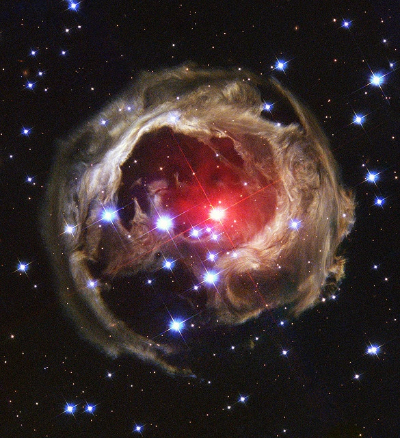 """Light Echo"" illuminates dust around supergiant star V838 monocerotis (V838 Mon) credit: NASA and The Hubble Heritage Team"