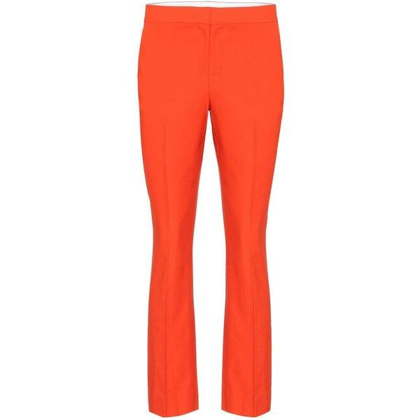 Diane von Furstenberg Linen-Blend Trousers ($340) ❤ liked on Polyvore featuring pants, orange, straight, trousers, diane von furstenberg, linen blend pants, straight pants, red trousers and red pants