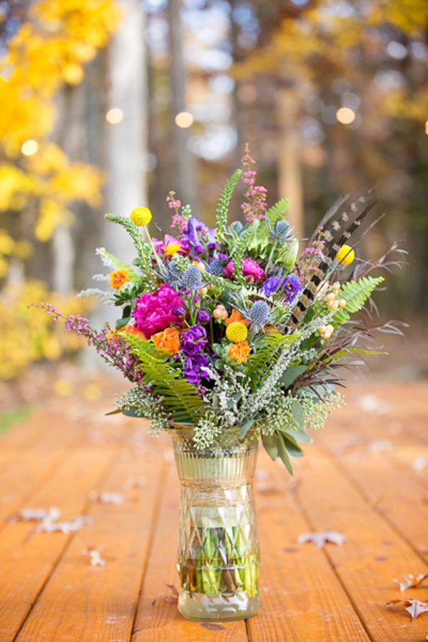Colorful Fall Bouquet Colorful Vintage Boho Chic Fall Wedding Inspiration Photographer:  Caroline Z Photography