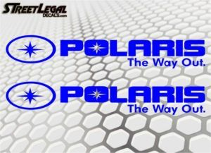 "2 Polaris 30"" The Way Out Blue Vinyl Stickers"