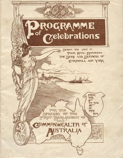 1901 Federation: 'Programme of Celebrations,for the opening of the first Parliament of the Commonwealth of Australia.'