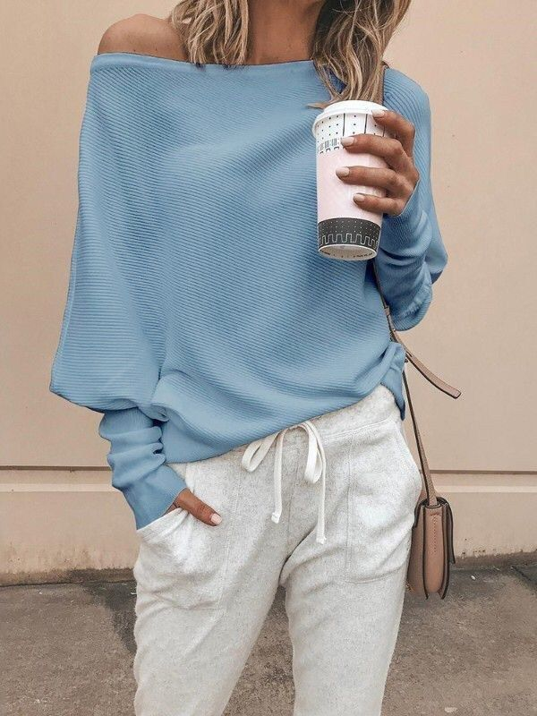 Sky Blue Off Shoulder Long Sleeve Casual Pullover Sweater