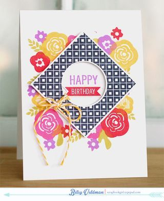 Four Square Flowers Card by Betsy Veldman for Papertrey Ink (January 2014)