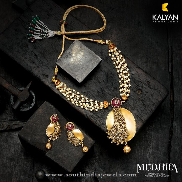 Gold Designer Necklace From Kalyan Jewellers, Gold Designer Pearl Necklace sets from Kalyan Jewellers.