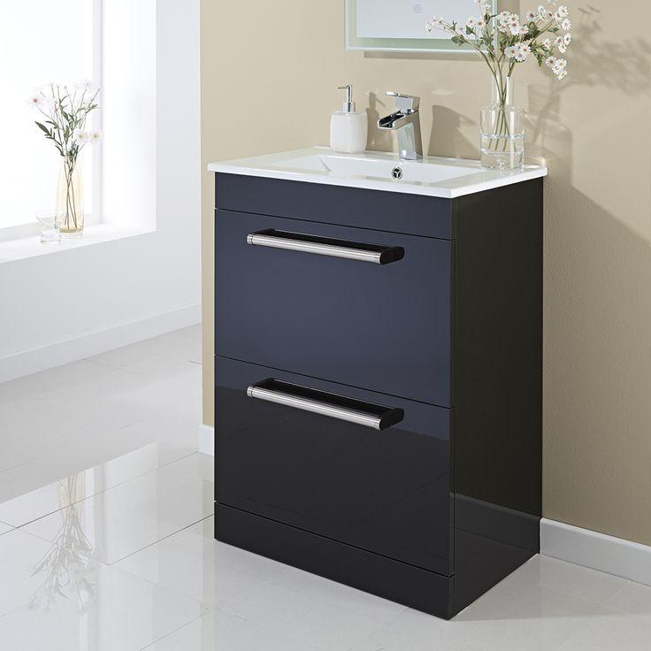 600mm Floorstanding 2 Drawer Basin Unit - Gloss Black