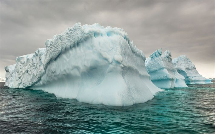 Download wallpapers Iceberg, Arctic Ocean, water, ice, melting glaciers, global warming