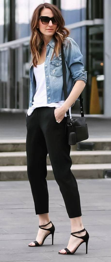 casual style perfection top + jacket + bag + heels + pants