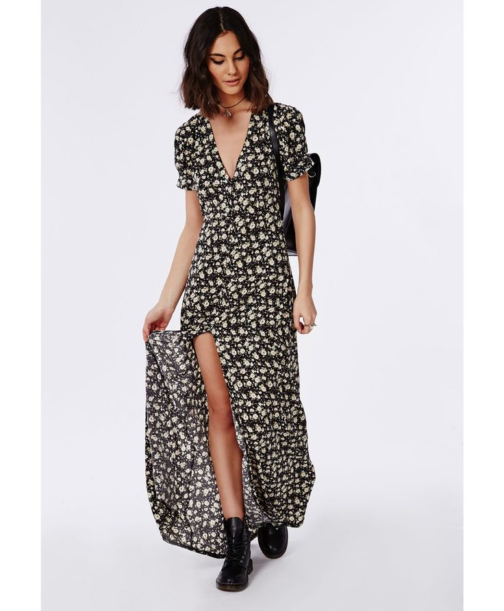 robe longue noire fleurie manches courtes robes robes longues missguided fashion. Black Bedroom Furniture Sets. Home Design Ideas