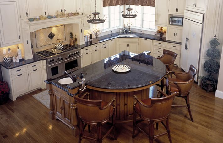 Round Kitchen Island round bar in kitchen |  kitchen with brown antique granite