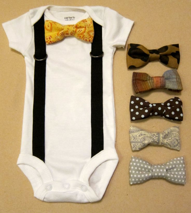 Baby Boy Outfit - Suspender Onesie with your choice of 1 bow tie. $18.00, via Etsy.