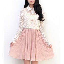 Turn Down Collar Color Block Hollow Out Design Floral Print Long Sleeve Wide Hem Dress For Women