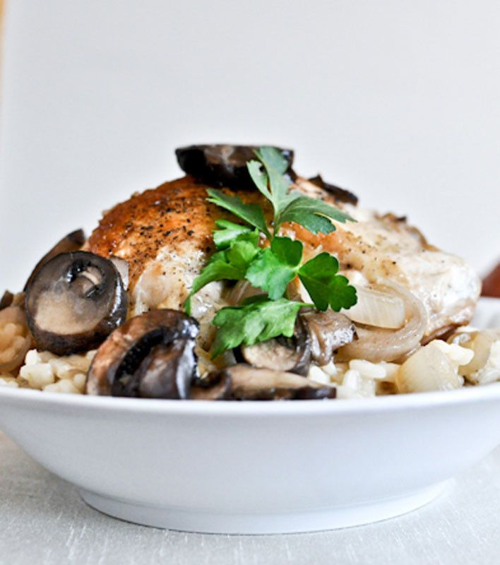 Beer Risotto with Mushroom Garlic Chicken