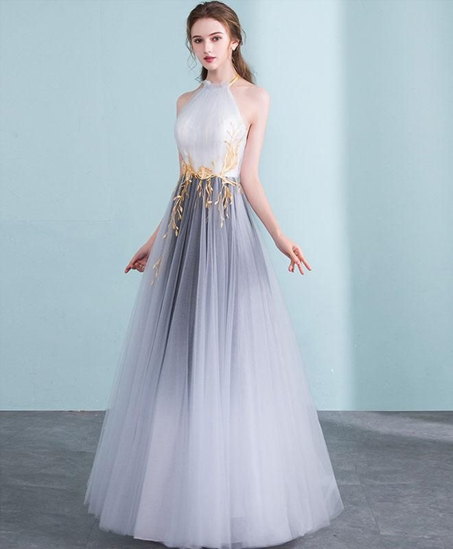 7a79b7a7a227 Gray gradient tulle long prom dress, gray evening dress in 2019 ...