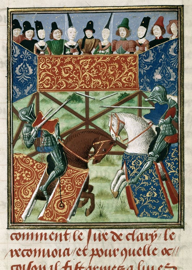 Joust from BL Harley 4379, f. 19v | Jean Froissart | 1470 - 1472 | The British Library | Public Domain Marked