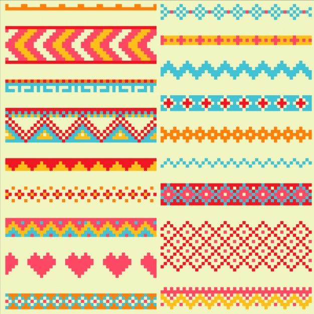 Pixel patterns, geometric shapes Free Vector