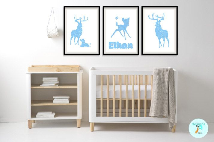 SALE!! Normally 31.95- ENDS 30 November, Bambi Deer Blue Decoupage Look Nursery Prints Name Print Personalised Wall Art Baby Boy, Baby Bedroom Decor 3 x A4 by DesignsByDjKidsArt on Etsy