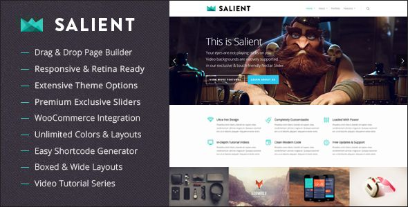 Salient – Responsive Multi-Purpose Theme, it is a smart, innovative and responsive theme that can be used for multiple purposes with drag and drop option.